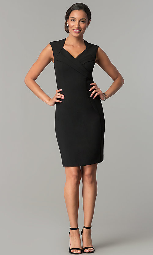 Image of short v-neck day-to-night holiday party dress. Style: ET-EDJMB773 Detail Image 3