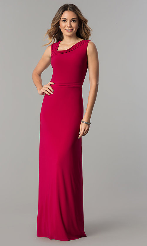 Image of garnet red knife pleated long designer prom dress. Style: ET-ESJMJ050 Front Image