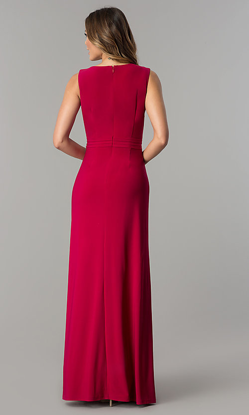 Image of garnet red knife pleated long designer prom dress. Style: ET-ESJMJ050 Back Image