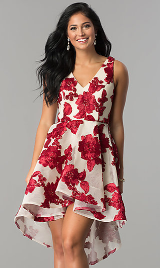 V-Neck High-Low Homecoming Dress