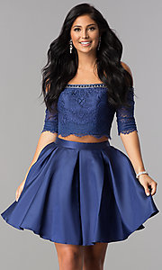 Off-the-Shoulder Short Two-Piece Homecoming Dress