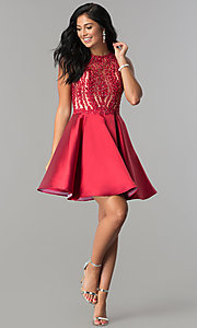 Image of short homecoming dress with fit-and-flare skirt. Style: LN-SP-E772 Detail Image 1