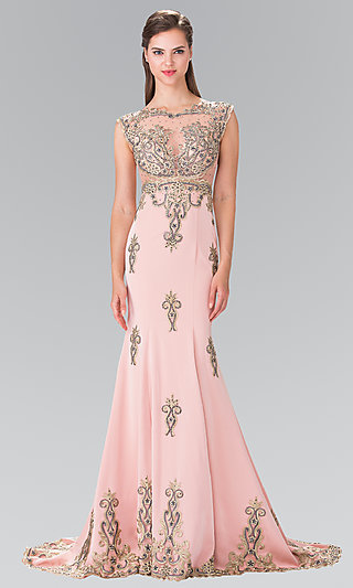 Beaded and Embroidered Sheer Formal Dress