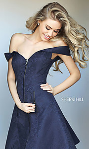 Sherri Hill Off-the-Shoulder Party Dress with Pockets