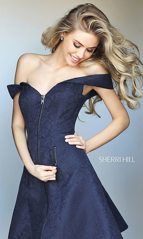 Image of Sherri Hill off-the-shoulder dress party with pockets. Style: SH-S50600 Detail Image 2