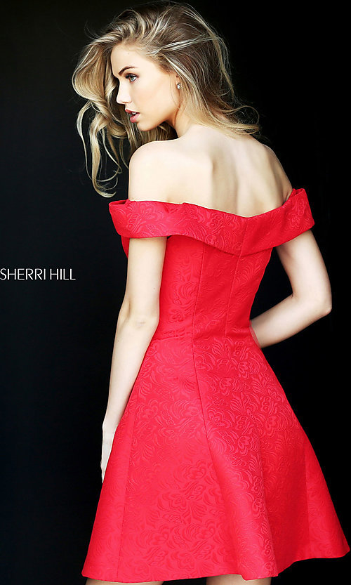 Image of Sherri Hill off-the-shoulder dress party with pockets. Style: SH-S50600 Back Image