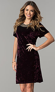 Image of wine purple velvet wedding-guest dress with beads. Style: SD-S278866 Front Image
