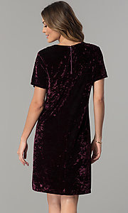 Image of wine purple velvet wedding-guest dress with beads. Style: SD-S278866 Back Image