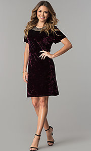 Image of wine purple velvet wedding-guest dress with beads. Style: SD-S278866 Detail Image 2