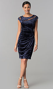 Image of short navy blue velvet party dress with cap sleeves. Style: SD-S276794 Detail Image 1