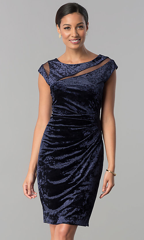 Image of short navy blue velvet party dress with cap sleeves. Style: SD-S276794 Front Image