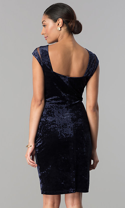 Image of short navy blue velvet party dress with cap sleeves. Style: SD-S276794 Back Image