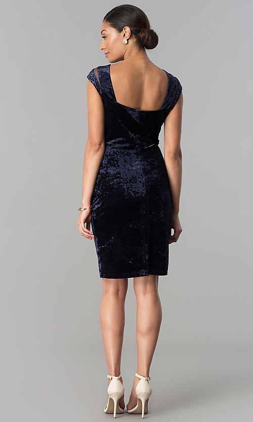 Image of short navy blue velvet party dress with cap sleeves. Style: SD-S276794 Detail Image 2