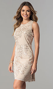 Image of short knee-length party dress with sequin accents. Style: SD-S277344 Detail Image 2