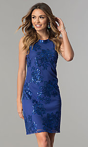 Image of short knee-length party dress with sequin accents. Style: SD-S277344 Front Image