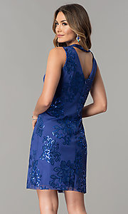 Image of short knee-length party dress with sequin accents. Style: SD-S277344 Back Image