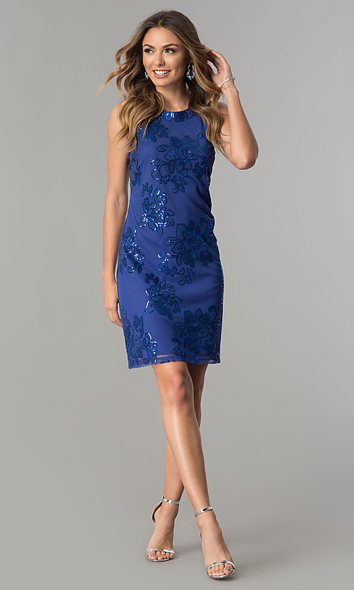 Image of short knee-length party dress with sequin accents. Style: SD-S277344 Detail Image 1