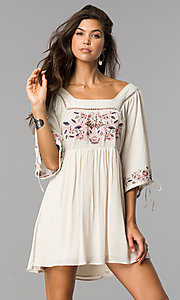 Short Casual Embroidered Bodice 3/4 Sleeve Dress