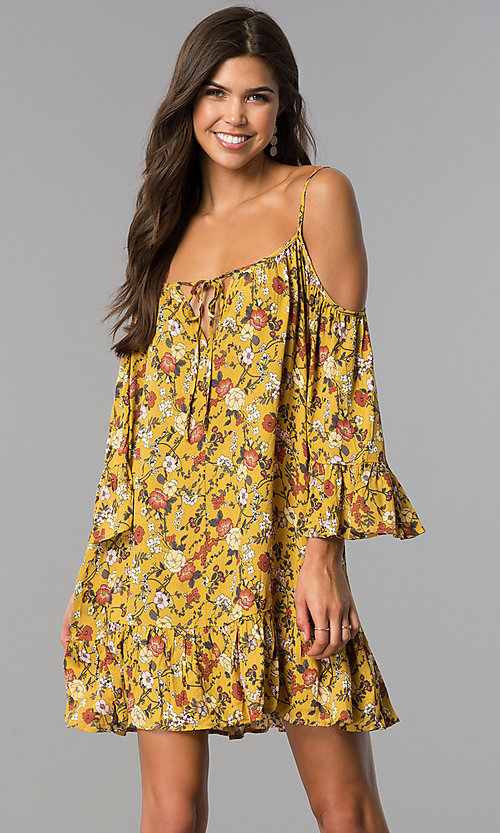 Image Of Short Fl Print Casual Dress In Mustard Yellow Style Enc