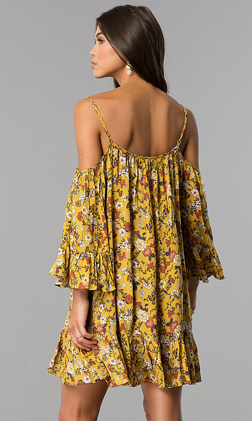 Image of short floral-print casual dress in mustard yellow. Style: ENC-EDL13924WL Back Image