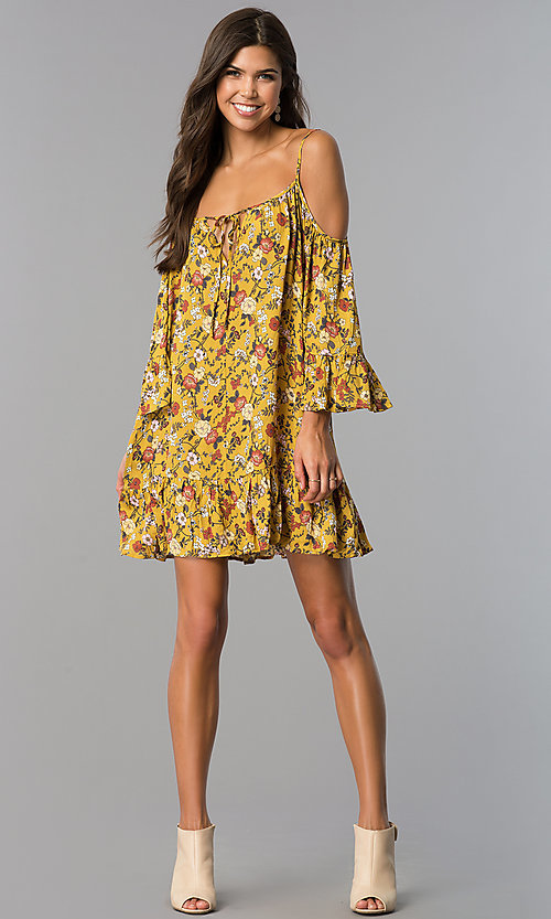 Image of short floral-print casual dress in mustard yellow. Style: ENC-EDL13924WL Detail Image 1