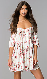 Casual Print Off-the-Shoulder Shift Dress with Straps