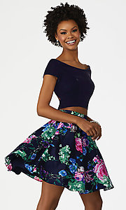 Print Velvet and Satin Homecoming Dress