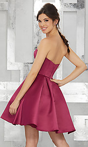 Image of strapless short satin fit-and-flare homecoming dress. Style: ML-9451 Back Image