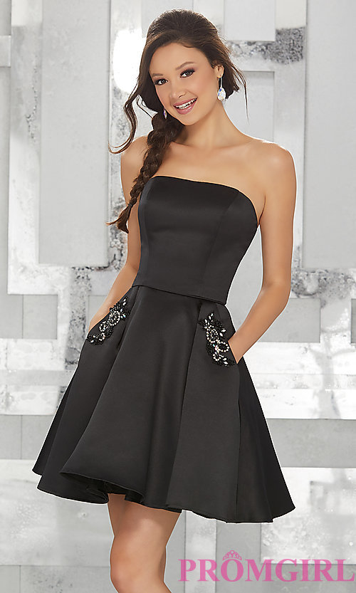 Image of strapless short satin fit-and-flare homecoming dress. Style: ML-9451 Front Image