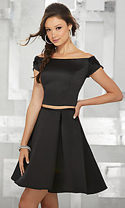 Image of off-the-shoulder short two-piece homecoming dress. Style: ML-9452 Detail Image 1