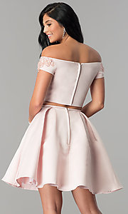 Image of off-the-shoulder short two-piece homecoming dress. Style: ML-9452 Back Image