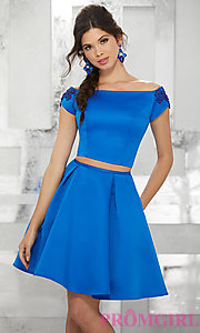 Image of off-the-shoulder short two-piece homecoming dress. Style: ML-9452 Detail Image 2