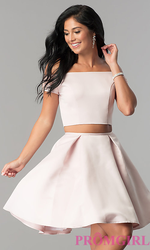 Image of off-the-shoulder short two-piece homecoming dress. Style: ML-9452 Front Image