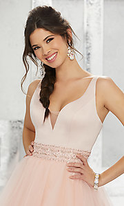 Image of fit-and-flare homecoming dress with deep v-neck. Style: ML-9454 Detail Image 3