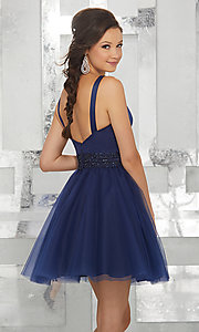 Image of fit-and-flare homecoming dress with deep v-neck. Style: ML-9454 Back Image