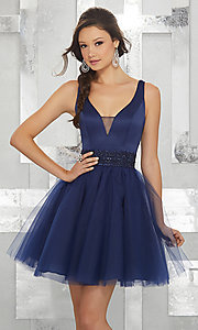Image of fit-and-flare homecoming dress with deep v-neck. Style: ML-9454 Detail Image 1