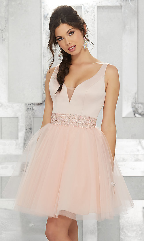 Image of fit-and-flare homecoming dress with deep v-neck. Style: ML-9454 Front Image