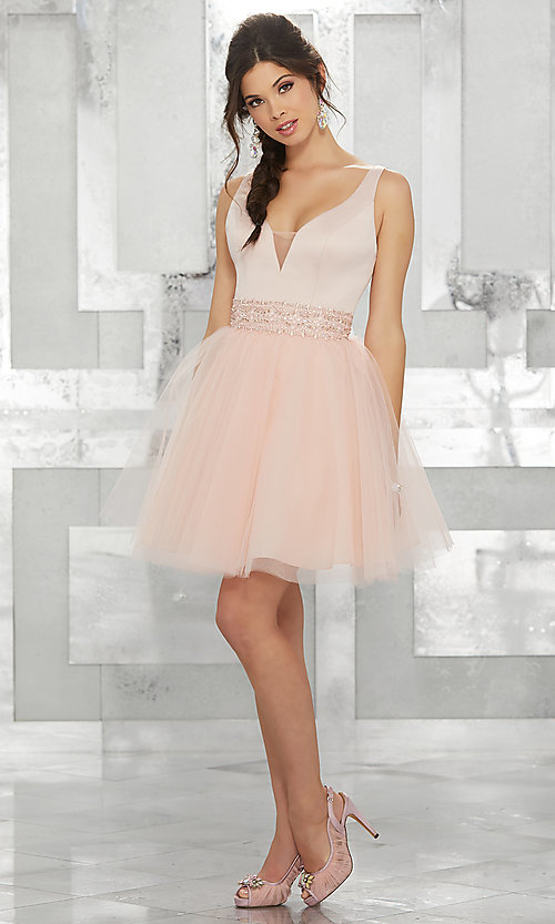 Image of fit-and-flare homecoming dress with deep v-neck. Style: ML-9454 Detail Image 2