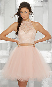 Image of two-piece short fit-and-flare homecoming dress. Style: ML-9456 Detail Image 2