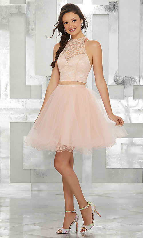 Image of two-piece short fit-and-flare homecoming dress. Style: ML-9456 Detail Image 3