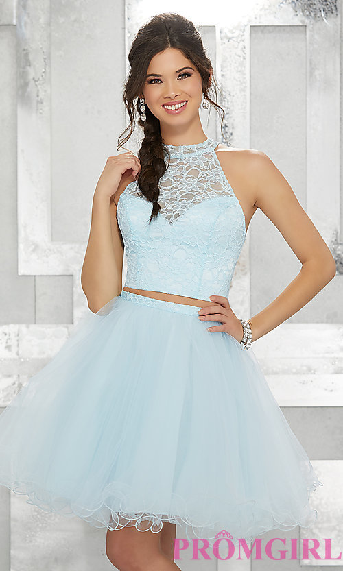 Image of two-piece short fit-and-flare homecoming dress. Style: ML-9456 Front Image