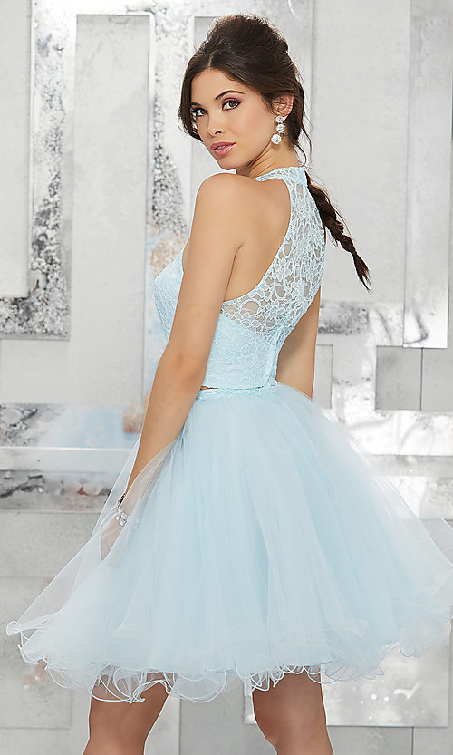 Image of two-piece short fit-and-flare homecoming dress. Style: ML-9456 Back Image
