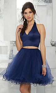 Image of navy blue two-piece halter short prom dress. Style: ML-9458 Front Image