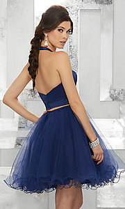 Image of navy blue two-piece halter short prom dress. Style: ML-9458 Back Image
