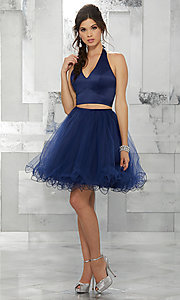 Image of navy blue two-piece halter short prom dress. Style: ML-9458 Detail Image 1