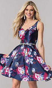 Floral Print V-Neck Short Homecoming Dress