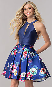 Image of racerback navy blue homecoming dress with print skirt. Style: TE-2292 Front Image