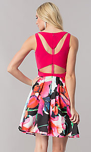 Image of v-neck homecoming dress with floral-print skirt. Style: TE-2352 Back Image