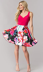 Image of v-neck homecoming dress with floral-print skirt. Style: TE-2352 Detail Image 1