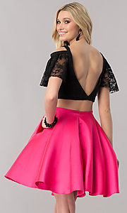 Image of two-piece short prom dress with lace bodice. Style: TE-2330 Back Image